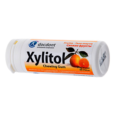 Жевательная резинка с ксилитом xylitol chewing gum свежие фрукты miradent/docdont