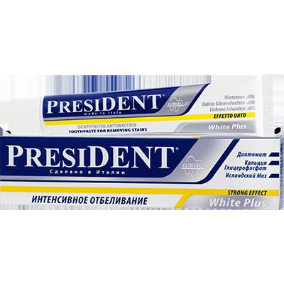 Антикариозная зубная паста white plus president 11083