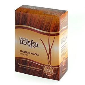 Травяная краска для волос на основе индийской хны (цвет золотисто-коричневый) ааша ааша хербалс краска травяная для волос золотисто коричневый
