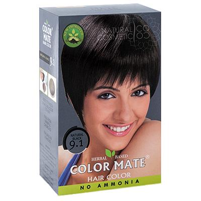 Henna Industries Pvt Ltd Натуральная краска для волос на основе хны color mate (тон 9.1, натуральный чёрный) без аммиака D6693
