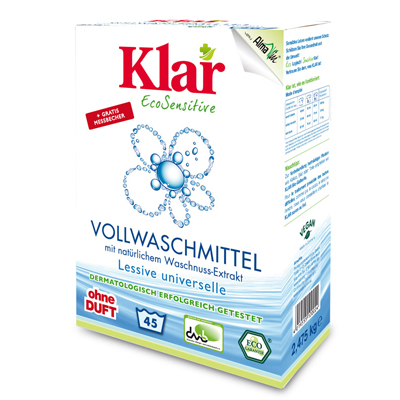 Стиральный порошок на мыльном орехе для белого и прочноокрашенного белья гипоаллергенный (2,475 кг) klar (Klar)