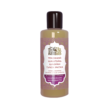 Травяной аюрведический шампунь шафран&тулси&ритха для объема (Амрита)