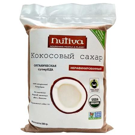 Органический кокосовый сахар nutiva сахар сладкий белый со стевией 500г коробка