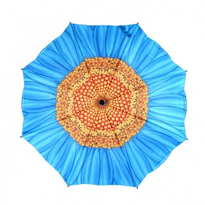 Складной зонт автомат цветок голубая маргаритка galleria  недорого