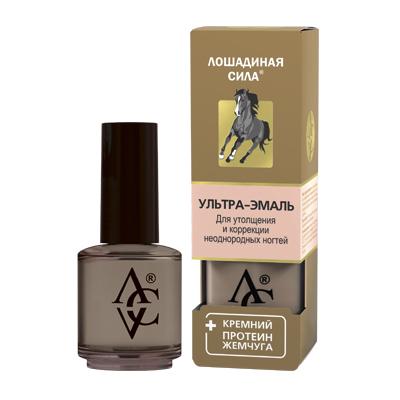Ультра-эмаль для утолщения и коррекции неоднородных ногтей с кремнием и протеином жемчуга «лошадиная сила» хорс форс