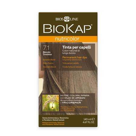 Стойкая натуральная крем-краска для волос biokap nutricolor (цвет шведский блондин пепельный) biosline NB710