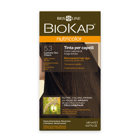 Стойкая натуральная крем-краска для волос biokap nutricolor (цвет светлый коричнево-золотистый) biosline NB530