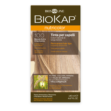 Стойкая натуральная крем-краска для волос biokap nutricolor (цвет золотистый очень светлый блондин) biosline