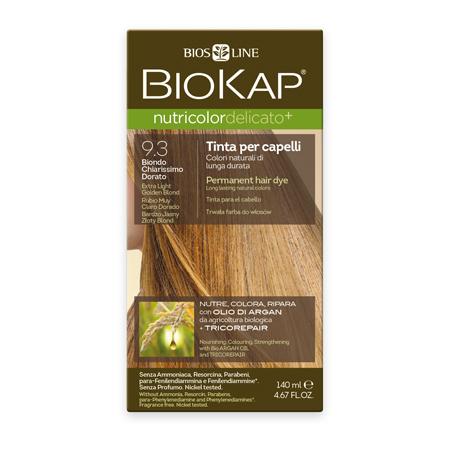 Стойкая крем-краска для чувствительных волос biokap nutricolor delicato (цвет очень светлый золотистый блондин) biosline ND930