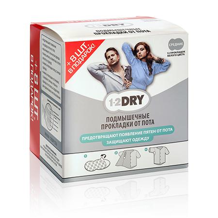Гигиенические вкладыши для подмышек от пота 1-2 dry белые, 20 шт размер m (42-48) (1-2 DRY BV J)