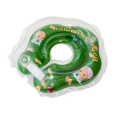 Детский надувной круг для купания зелёный полуцветный baby swimmer (Baby Swimmer)