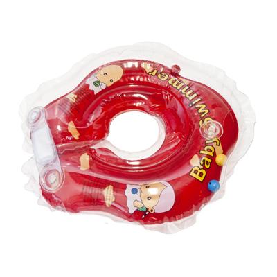 Детский надувной круг для купания красный полуцветный внутри погремушка baby swimmer (Baby Swimmer)