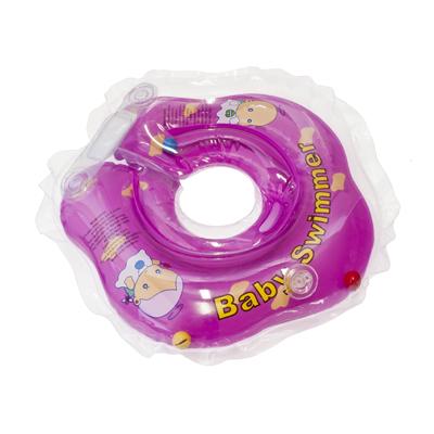 Детский надувной круг для купания фиолетовый полуцветный внутри погремушка baby swimmer (Baby Swimmer)