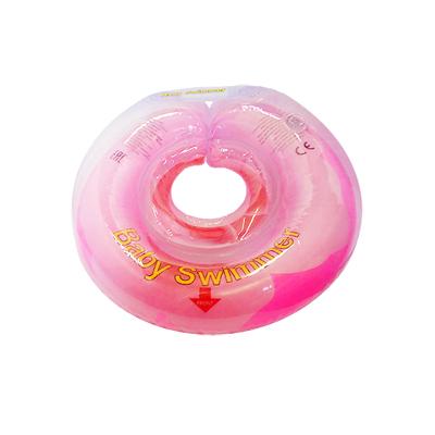 Детский надувной круг для купания розовый бутон внутри погремушка baby swimmer (Baby Swimmer)