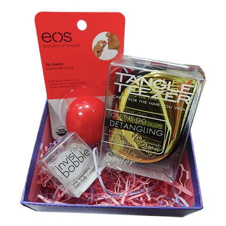 Beauty box tangle teezer + eos + invisibobble
