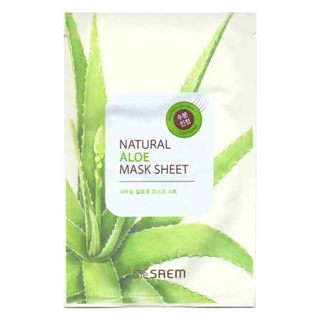 Маска тканевая с экстрактом алое вера natural aloe mask sheet the saem