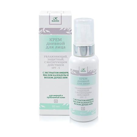 Дневной увлажняющий крем для жирной и проблемной кожи с матирующим эффектом и spf 5 клеона (Клеона)