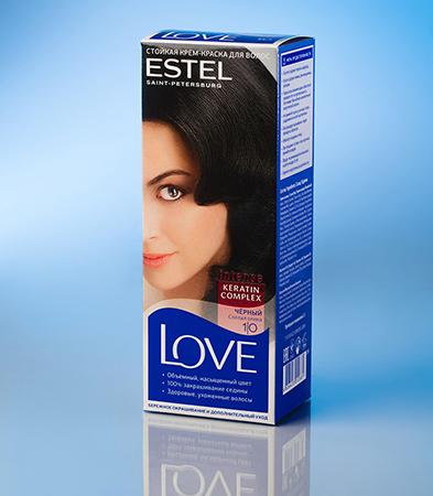 Стойкая крем-краска love (тон 1/0 черный) estel (Estel)