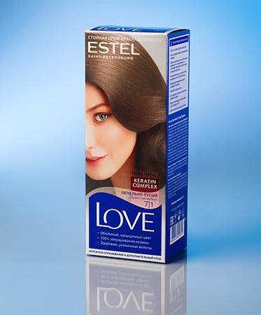 Стойкая крем-краска love (тон 7/1 пепельно-русый) estel (Estel)