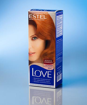Стойкая крем-краска love (тон 8/4 янтарный) estel (Estel)
