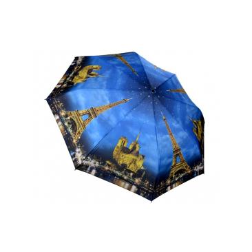 Складной зонт автомат город огней синий galleria (Galleria)