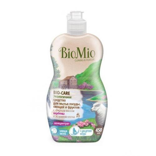 Средство для мытья посуды, овощей и фруктов с эфирным маслом вербены, экстрактом хлопка и ионами серебра bio mio