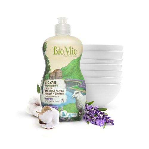 Средство для мытья посуды, овощей и фруктов с эфирным маслом лаванды, экстрактом хлопка и ионами серебра bio mio