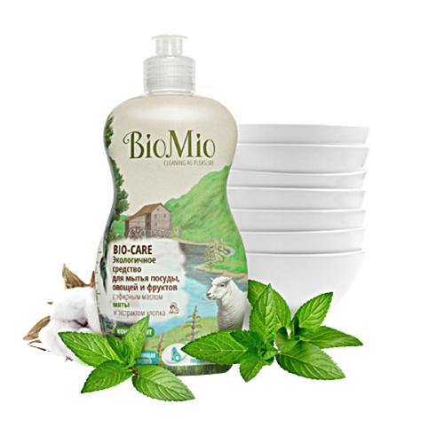 Средство для мытья посуды, овощей и фруктов с эфирным маслом мяты, экстрактом хлопка и ионами серебра bio mio