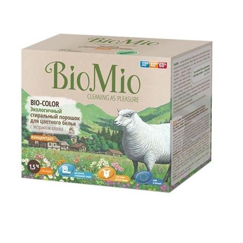Стиральный порошок для цветного белья bio-color с экстрактом хлопка без запаха bio mio детские моющие средства biomio bio color экологичный стиральный порошок для цветного белья без запаха 1500 г