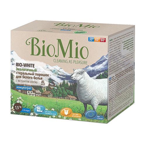 Стиральный порошок для белого белья bio-white с экстрактом хлопка без запаха bio mio детские моющие средства biomio bio color экологичный стиральный порошок для цветного белья без запаха 1500 г