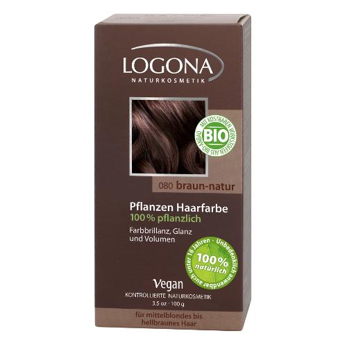 Растительная краска для волос 080 натурально-коричневый logona (Logona)