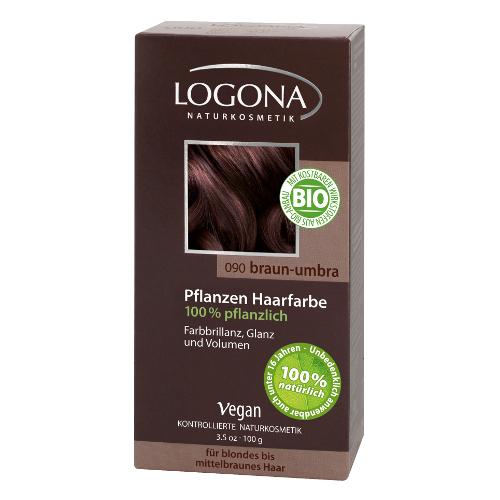 Растительная краска для волос 090 « умбра темно-коричневый» logona