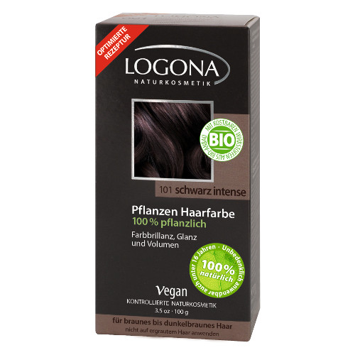 Растительная краска для волос 101 «насыщенно-черный» logona