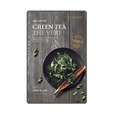 Тканевая маска для лица с экстрактом зеленого чая real nature the face shop (The Face Shop)
