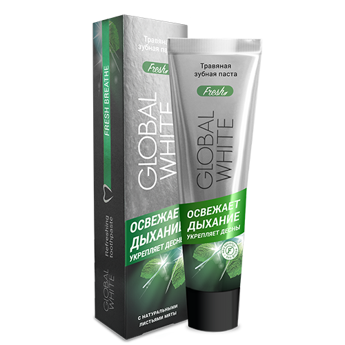 Травяная зубная паста освежающая дыхание 100 мл global white (Global White)