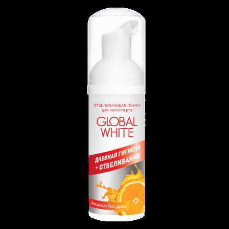 Отбеливающая пенка для полости рта апельсиновый фреш global white