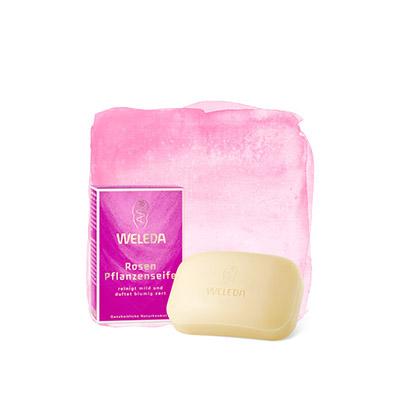 Розовое растительное мыло weleda