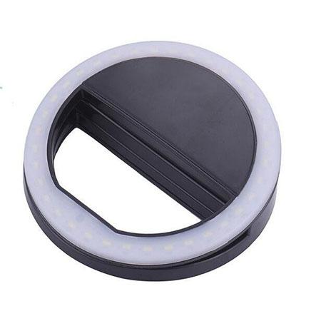Светодиодное кольцо для селфи черное (зарядка от батареек) selfie ring light