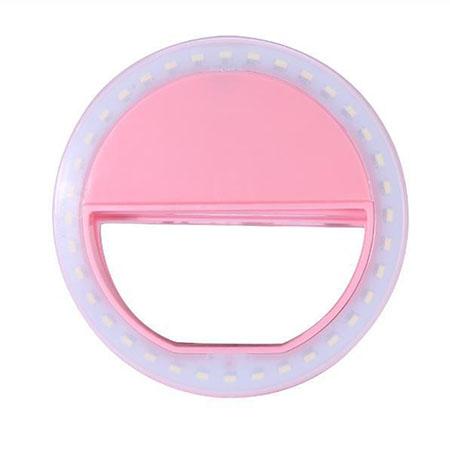 Светодиодное кольцо для селфи розовое (зарядка от батареек) selfie ring light