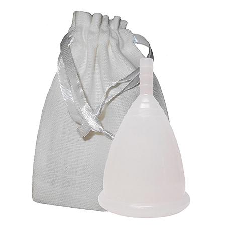 Белая менструальная чаша в мешочке (размер l) cuplee