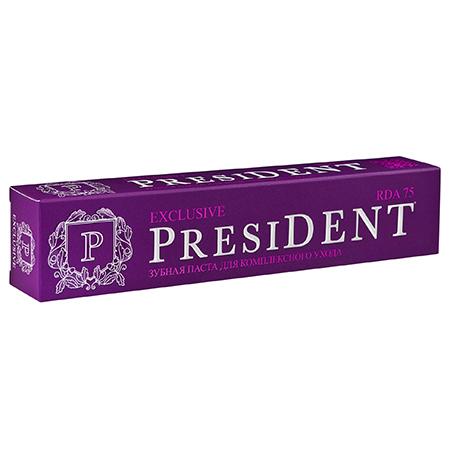 Лечебно-профилактическая зубная паста exclusive 75 мл president пленка тонировочная president 35% 0 75 м х 3 м
