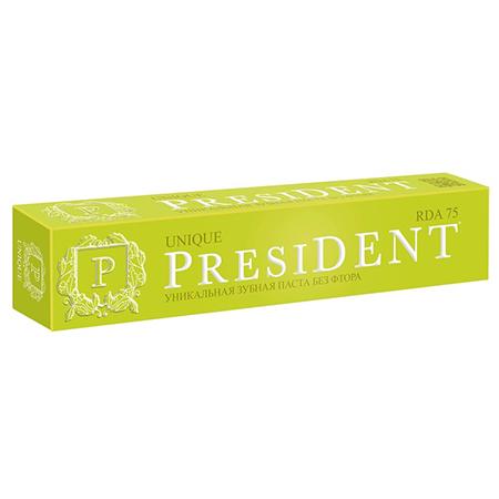 Зубная паста без фтора unique 75 мл president пленка тонировочная president 35% 0 75 м х 3 м