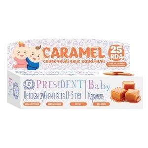 Детская зубная паста-гель со вкусом карамели baby 0-3 president конфэшн минутки вафли со вкусом сливок айриш крим 165 г