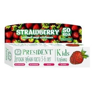 Детская зубная паста-гель со вкусом клубники без фтора kids 3-6 president