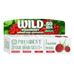 Детская зубная паста-гель со вкусом земляники без фтора junior 6+ president