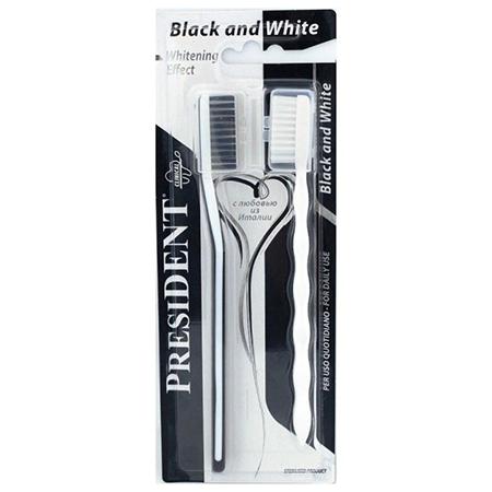 Набор зубных щеток с отбеливающим эффектом black & white president president зубная щётка president smokers 31065 1 шт