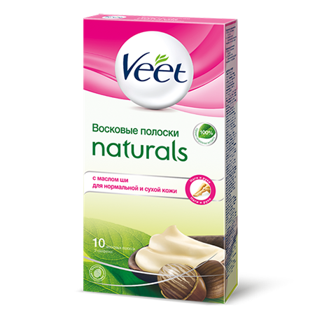 Восковые полоски для тела naturals с маслом ши veet veet veet восковые полоски с маслом ши серии naturals c технологией easy gel wax 10шт