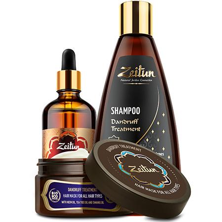 Набор натуральный комплекс против перхоти и зуда шампунь, маска и легкосмываемое масло зейтун