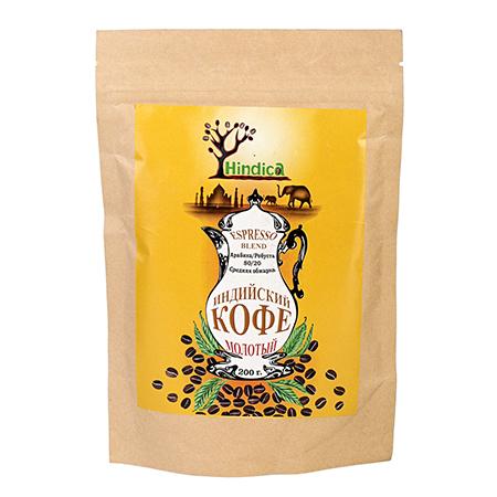 Индийский кофе молотый espresso blend hindica имбирь молотый по вкусу 25 г