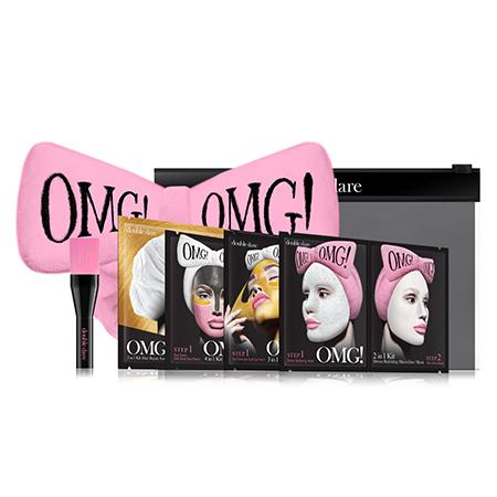 Набор spa из 4 масок, кисти и нежно-розового банта double dare omg! аксессуары double dare omg заколки для волос нежно розовые